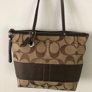 Authentic Coach Brown/Beige Jacquard Tote Bag